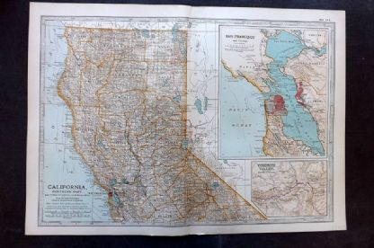 Encyclopaedia Brittannica 1903 Antique Map. California, Northern Part, USA
